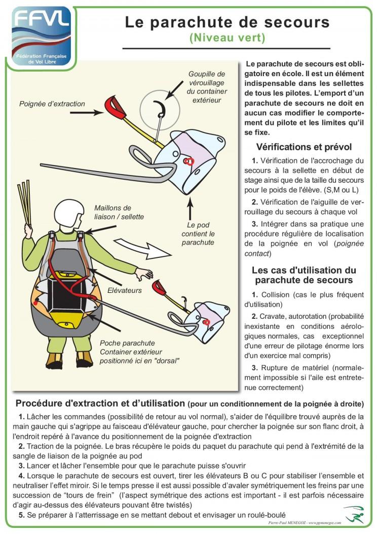 poster ouverture parachute de secours parapente